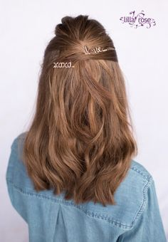 Criss-cross half up hairstyle created with charming 'love' bobby pins from Lilla Rose