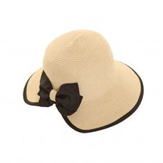 Cutaway back Straw sun hat with black band and bow