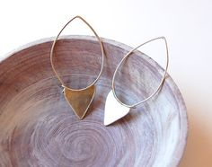 Sterling Silver Metalwork Arrow Earrings - Modern Tribal Earrings - Minimalist Earrings
