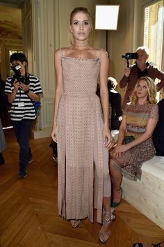 Elena Perminova attends the Valentino show as part of the Paris Fashion Week Womenswear  Spring/Summer 2017  on October 2, 2016 in Paris, France.