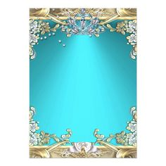Quinceanera Aqua Teal Gold 15th Birthday Party Card