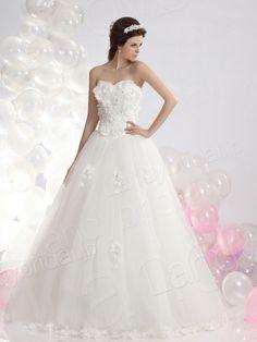 ウェディングドレス 花コサージュ Aライン アイボリー ハートネック チュール B12349  税込: ¥59,400