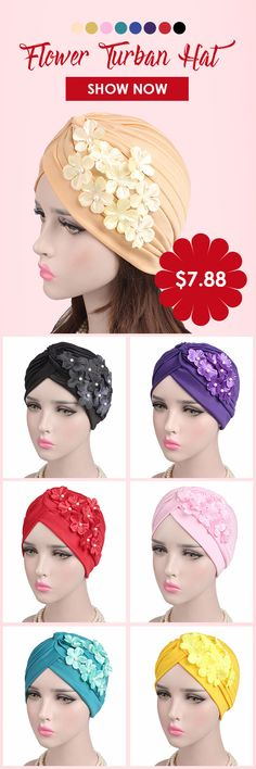 Women's Polyester Fiber Solid Color With Flower Stretch Turban Hat Casual Beanie Cap Bonnet Hat #hat #fashion