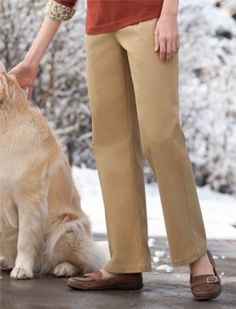 Leather-trimmed Stretch-twill Pants, Sand Dune, 16 Orvis. $44.00