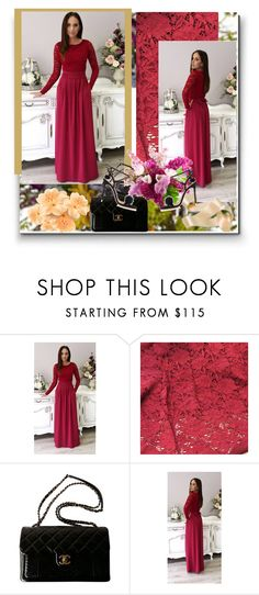 """""""Elegant Party Evening Maxi Dress-DesirVale 13"""" by jnatasa ❤ liked on Polyvore featuring Nearly Natural, Chanel, WithChic and plus size dresses"""