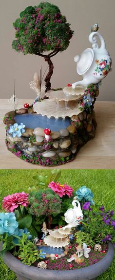 16 Tiny and Adorable Magical DIY Fairy Garden Ideas - Fairy garden waterfall - Fairy Garden Plants, Mini Fairy Garden, Fairy Garden Houses, Diy Garden, Garden Crafts, Fairy Gardening, Organic Gardening, Micro Garden, Fairies Garden