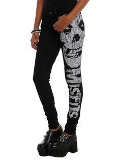 Misfits x Iron Fist skinny jeans with 5-pocket styling, branded rivets and Fiend Skull logo design on the left leg.