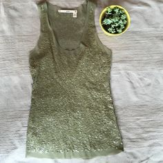 Chelsea and Violet sheer sequin Racer back tank Lovely olive green Chelsea and Violet sheer sequin tank. Very classy and dressy tank! Great with jeans or skirt! Only worn once! Chelsea & Violet Tops