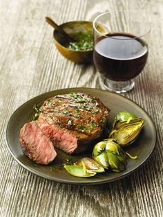 Chimichurri- Marinated Strip Filets: A homemade Chimichurri sauce is used as a marinade for Strip steaks. Funded by The Beef Checkoff