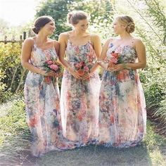 New Arrivals Floral Print Bridesmaid Dresses 2016 with Scoop A Line Floor Leangth Chiffon Cheap Wedding Party Gowns for Bridesmaids Bridesmaid Dress Print Bridesmaid Dresses 2016 Bridesmaid Dresses Online with $85.72/Piece on Olesa's Store | DHgate.com