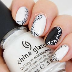 ".@Bella Ritchey | Easy nail art, black and white with leopard prints.  CG ""Dandy Lyin' Aro... | Webstagram"