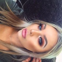 Blue eyes and bronzed eye makeup