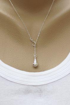 sterling silver teardrop lariat necklace