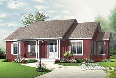 Plain-pied très économique de style champêtre avec intérieur attrayant & 3 chambres !   http://www.dessinsdrummond.com/detail-plan-de-maison/info/1003079.html