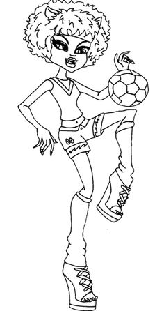 Monster High Howleen Wolf Play Ball Coloring Page