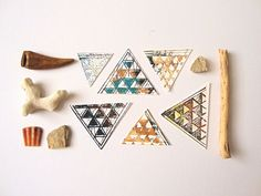Geometric Stickers or Envelope Seals : Triforce Stickers set of 16 screen print triangle stickers on Etsy, $4.75