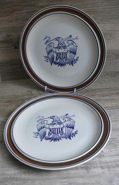 2 Salem Stoneware Dinner Plates American Eagle Handcrafted Serving 4th of July  #SalemStoneware