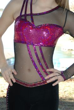 Black and Magenta Custom Competition Dance Costume AXS s Lots of Rhinestones | eBay