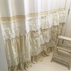 """Gorgeous one of a kind shower curtain is now available in my shop link @hallstromhome This was custom made with many layers of raw edge ruffles and vintage lace. Measures 82"""" long so I'd recommend hanging on a separate shower curtain rod than the liner #boho #showercurtain"""