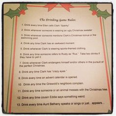 My version of the Christmas Vacation Drinking Game!