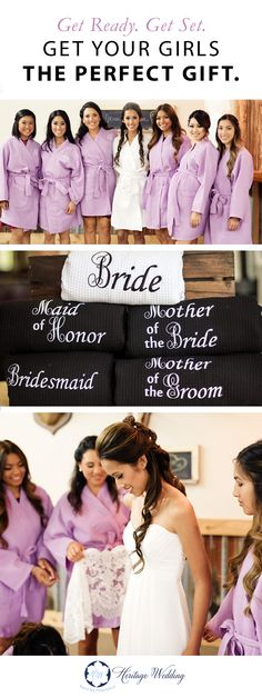 "Getting ready for your big day? Do it in style with matching Bridal Party Waffle Weave Robes! These comfy classics come in amazing colors and can be embroidered with initials and titles. These make great gifts for all the lovely ladies helping you celebrate your big day.. Order now and take 10% off your order with coupon code ""LIFEMATTERS"""