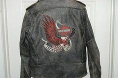 Vintage Harley Davidson Jacket Distressed Leather