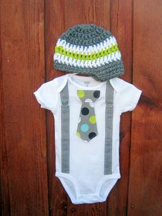 Get the set - Polka Dot Neck Boy Tie Bodysuit Onesie or T-Shirt with Suspenders and Crocheted Hat - Size NB to 12 Years. $36.00, via Etsy.