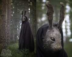 Creepy Rabbit Mask (for sale on Etsy) by Nymla cosplay costume LARP LRP bunny easter halloween equipment gear magic item | Create your own roleplaying game material w/ RPG Bard: www.rpgbard.com | Writing inspiration for Dungeons and Dragons DND D&D Pathfinder PFRPG Warhammer 40k Star Wars Shadowrun Call of Cthulhu Lord of the Rings LoTR + d20 fantasy science fiction scifi horror design | Not Trusty Sword art: click artwork for source