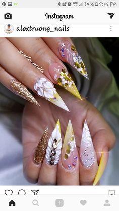 spring nail art that look beautiful. Glam Nails, Hot Nails, Fancy Nails, Bling Nails, Matte Nails, Stiletto Nails, Fabulous Nails, Gorgeous Nails, Pretty Nails