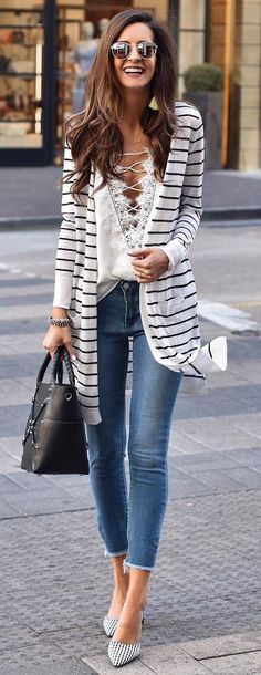 trendy spring outfit stripped cardi lace up top bag skinnies heels