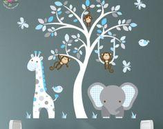 Enchanted Interiors Premium Self Adhesive Fabric Nursery Wall Art Stickers Jungle Wall Decals featuring a Safari Tree, Swinging Monkeys, a Giraffe and Elephant. Blue and Grey Nursery Room Decor Jungle Nursery, Elephant Nursery, Animal Nursery, Jungle Theme, Jungle Safari, Nursery Boy, White Nursery, Giraffe Baby, Nursery Decals