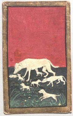 "(8) Spielkarte Jagdhunde Acht aus dem ""Ambraser Hofjagdspiel"", Konrad Witz (Werkstatt), Basel, um 1440/1445. -- http://bilddatenbank.khm.at/viewArtefact?id=91040"