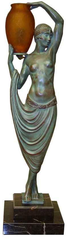 French Art Deco Illuminated Statue - 'Odalisque' - by Pierre Le Faguays (French, 1892-1935) - @~ Watsonette
