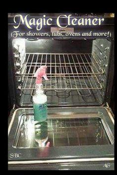 Magic cleaner ...2oz Dawn, 4oz bottled lemon juice, 8oz white vinegar, 10 oz water. For ovens, bathtubs, showers etc.