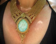 """Macrame Necklace """"Paradiso"""" with Turquoise and Brass, beige goa fairy pixie festival statement necklace"""