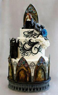 gothic windows, phantom of the opera wedding cake