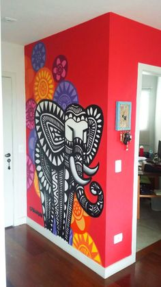 Um elefant neo no hall de entrada by cadumen Graffiti Wall Art, Mural Wall Art, Diy Wall Art, Diy Wall Decor, Wall Art Designs, Paint Designs, Wall Design, Wall Painting Decor, Design Apartment