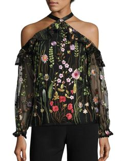 Halter off Shoulder Long Sleeve Floral Printed Blouse