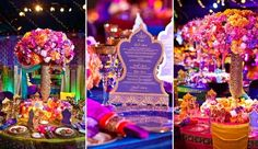 Disney Tablescape Real-Life Fairy Tale Wedding: An Aladdin and Jasmine Disney Wedding Arabian Nights Wedding, Arabian Party, Arabian Nights Theme, Aladdin Wedding, Aladdin Party, Wedding Disney, Disney Weddings, Spring Wedding Flowers, Rustic Wedding Flowers