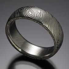 Hub's band is from Chris Ploof; Naked Damascus Wood Grain Pattern with Ghost Etched Interior, Rounded Top Steel Jewelry, Jewelry Rings, Jewelry Accessories, Damascus Ring, Damascus Steel, Meteorite Ring, Steel Art, Diy Rings, Wedding Bands