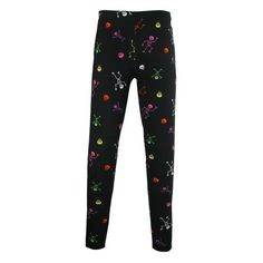 These silky soft leggings feature neon skeletons. The covered elastic waistband will keep you comfortable all day. These leggings have spandex for stretch and to retain their shape wash after wash.