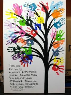 Photo: Another great end-of-the-year idea: create class artwork with handprints from every student!
