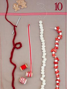 easy garland ideas  1. crochet a single chain with a large hook and thick yarn  2. wrap festive or vintage ribbon around your tree  3. thread fluffy white pom pom balls together using a big needle and thick thread  4. string marshmallows and popcorn together using a big needle and baker's twine (I found colored popcorn at a popcorn store at the mall)