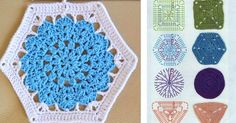 10 Hexagon granny square patterns. Easy ways to add hexagons to your crocheting repertoire.