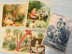 J P Coats 1880 Calendar Card plus Victorian Trade Cards for Mattresses and Sewing Machines-4 by PrettyPaper09 on Etsy