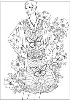 Creative Haven JAZZ AGE FASHIONS Coloring Book by: Ming-Ju Sun Coloring Page 2