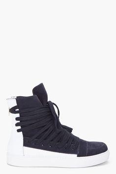 KRIS VAN ASSCHE Two Tone Leather Sneakers