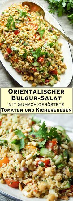 Ein leckeres, orientalisch inspiriertes Rezept für einen Bulgur-Salat mit Aromen aus dem Nahen Osten. Im Ofen geröstete Sumach Cherry Tomaten und Kreuzkümmel (Cumin) Kichererbsen mit knackiger Gurke und frischen Kräutern ergeben ein sättigendes und gesundes Gericht, über das sich auch Eure veganen und vegetarischen Freunde freuen werden. Sommersalat. Einfache Gesunde Rezepte - Elle Republuc
