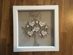 Your place to buy and sell all things handmade Box Frame Art, White Box Frame, Box Frames, Family Tree Frame, Family Trees, Golden Family, Personalised Family Tree, Perfect Mother's Day Gift, Gold Paint