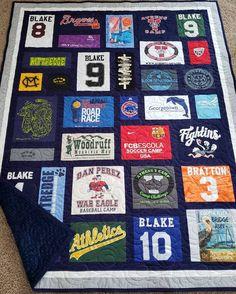 T-shirt quilt custom made. Mosaic tshirt quilt made from Jersey Quilt, Nancy Zieman, T-shirt Quilts, Easy Quilts, Twin Quilt, Simple Shirts, T Shirt Diy, Diy Tshirt Quilt, Tee Shirts